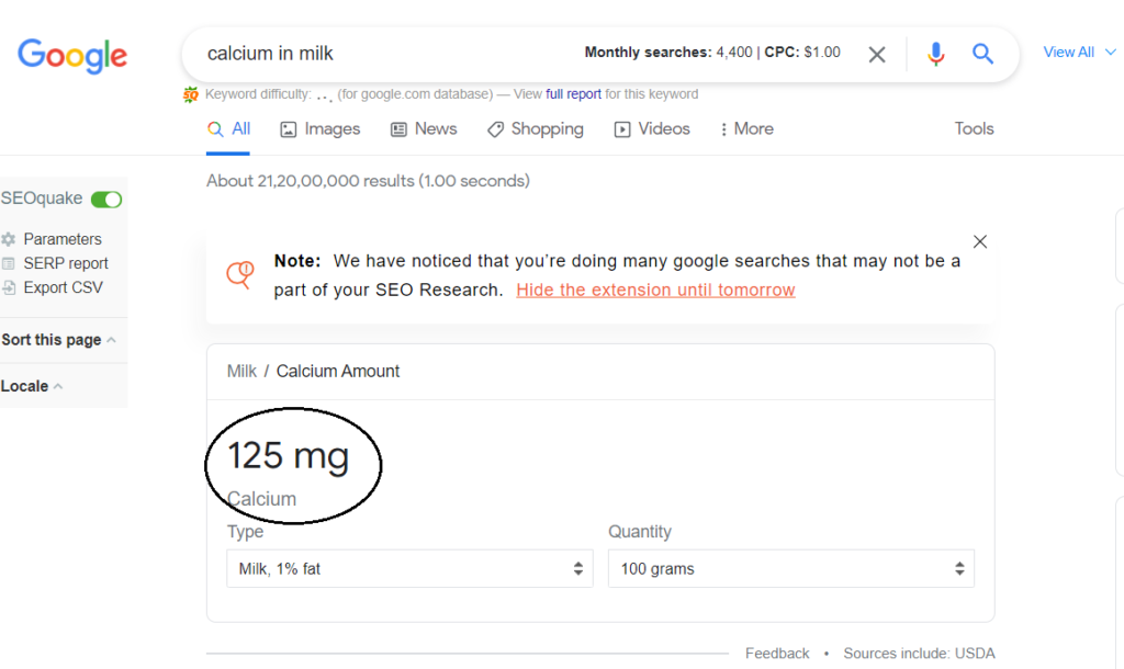 This image showing how many clicks any keyword get in the Search result